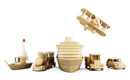 Reeks houten speelgoed - verschillende soorten vervoer Royalty-vrije Stock Afbeeldingen