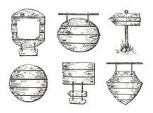 Reeks houten tekens schetsgrafiek Promenadeachtergronden royalty-vrije illustratie