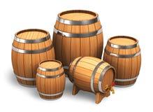 Reeks houten vaten Royalty-vrije Stock Afbeeldingen