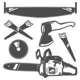 Reeks of houthakker voor t-shirt en tatoegerings de stijl van houthakkersvinage, emblemen en embleem stock illustratie