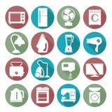 Reeks huishoudapparaten vlakke pictogrammen op kleurrijk rond Web maar Stock Afbeelding