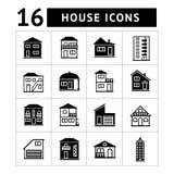 Reeks huispictogrammen. Onroerende goederen en bouwend colle Stock Afbeelding