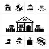 Reeks huispictogrammen. Onroerende goederen en bouwend colle Royalty-vrije Stock Fotografie
