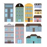 Reeks huizen en gebouwen stock illustratie