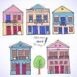 Reeks huizen, illustratie Royalty-vrije Stock Foto's