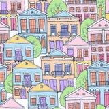 Reeks huizen, illustratie Stock Afbeeldingen
