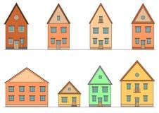 Reeks huizen. Vector. Stock Afbeelding