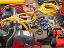 Reeks hulpmiddelen en instrumenten Stock Foto's