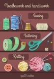 Reeks hulpmiddelen en materialen voor fancywork en handwerk Stock Afbeeldingen