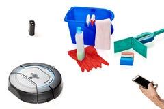 Reeks hulpmiddelen om schoon te maken Stock Foto