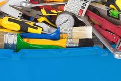 Reeks hulpmiddelen in toolbox Stock Afbeelding