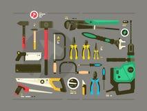 Reeks hulpmiddelen voor bouw en reparatie royalty-vrije illustratie