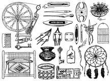 Reeks hulpmiddelen voor hobby Naaiende elementen of materialen voor het breien en handwerk Met de hand gemaakt materiaal Het vrou vector illustratie