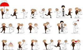 Reeks huwelijksbeelden, vector Royalty-vrije Stock Fotografie