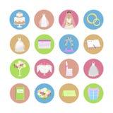 Reeks huwelijkspictogrammen in vlak ontwerp royalty-vrije illustratie