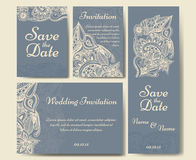 Reeks huwelijksuitnodigingen Het malplaatje van huwelijkskaarten met individueel concept vector illustratie