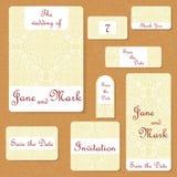 Reeks huwelijksuitnodigingen Het malplaatje van huwelijkskaarten met individueel concept Het ontwerp voor uitnodiging, dankt u ka Stock Afbeeldingen