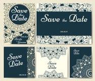 Reeks huwelijksuitnodigingen Het malplaatje van huwelijkskaarten met individueel concept Het ontwerp voor uitnodiging, dankt u ka stock illustratie