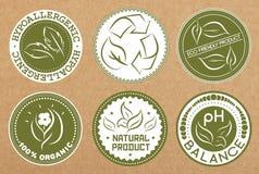 Reeks hypoallergenic, rekupereerbare, eco vriendschappelijke, organische kentekens, pictogrammen, stickerlay-outs Stock Afbeelding