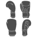 Reeks illustraties met bokshandschoenen Geïsoleerde vectorvoorwerpen vector illustratie