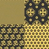 Reeks Indische naadloze patronen Stock Afbeelding