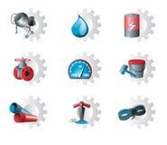 Reeks industriële pictogrammen Royalty-vrije Stock Fotografie