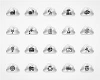 Reeks industriële pictogrammen op metaalwolken Stock Foto's