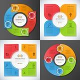 Reeks infographic cirkels, banners, malplaatjes Stock Foto's