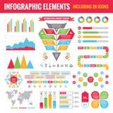 Reeks Infographic-Elementen (met inbegrip van 36 pictogrammen) - Vectorconceptenillustratie Stock Foto's