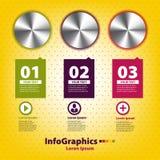 Reeks infographic met drie handvatten Royalty-vrije Stock Fotografie