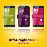 Reeks infographic met drie smartphones Stock Foto