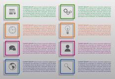Reeks infographic opties in kleurrijke vierkanten Royalty-vrije Stock Afbeeldingen