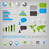 Reeks infographic vectorelementen met wereldkaart Stock Fotografie