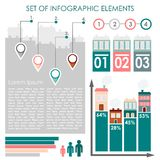Reeks infographics, de stedelijke pictogrammen van demographicsgegevens en elementen, illustratie Stock Foto