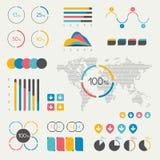 Reeks infographicselementen Grafiek, grafiek, chronologie, toespraakbel, cirkeldiagram, kaart Royalty-vrije Stock Afbeelding
