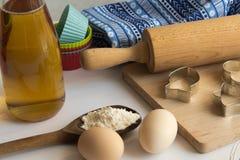 Reeks ingrediënten voor baksel worden gebruikt dat Royalty-vrije Stock Afbeelding