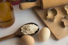Reeks ingrediënten voor baksel worden gebruikt dat Stock Afbeelding