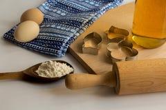 Reeks ingrediënten voor baksel worden gebruikt dat Royalty-vrije Stock Foto