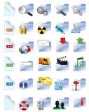 Reeks Internet en pictogrammen van verschillende media. Stock Foto