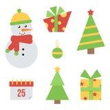 Reeks, inzameling van leuke Kerstmis en nieuwe jaarpictogrammen op witte achtergrond Stock Foto's