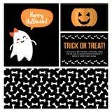 Reeks, inzameling van leuke vlakke het ontwerpkaarten van Halloween, banners, etiketten, stickers voor Web en druk Royalty-vrije Stock Foto
