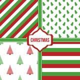 Reeks, inzameling van vier eenvoudige moderne kleurrijke achtergronden van het Kerstmispatroon Stock Foto's