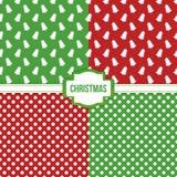 Reeks, inzameling van vier eenvoudige moderne kleurrijke Kerstmis naadloze patronen Stock Foto's