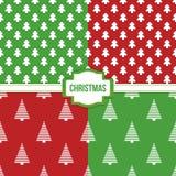 Reeks, inzameling van vier eenvoudige moderne kleurrijke naadloze het patroonachtergronden van Kerstmisbomen Royalty-vrije Stock Foto