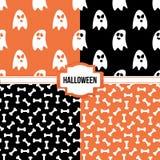 Reeks, inzameling van vier eenvoudige moderne kleurrijke naadloze patronen van Halloween Royalty-vrije Stock Afbeeldingen