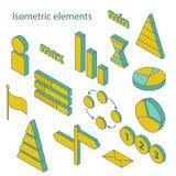 Reeks isometrische bedrijfselementen Stock Afbeeldingen
