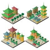 Reeks isometrische cityscapes met de gebouwen en de infrastructuur Oost- van Azië vector illustratie