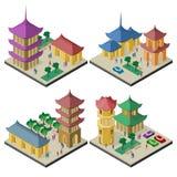 Reeks isometrische cityscapes met de gebouwen en de infrastructuur Oost- van Azi? vector illustratie