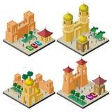 Reeks isometrische cityscapes met vestingsmuur, gebouwen en mensen vector illustratie