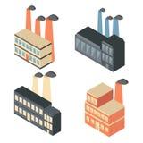 Reeks isometrische fabriekspictogrammen Royalty-vrije Stock Foto's